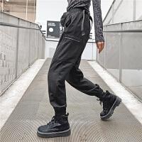 七格格工装裤子女士休闲裤宽松直筒2019秋冬季新款黑色潮流运动裤