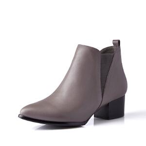 富贵鸟女鞋秋季尖头深口单鞋女粗跟套脚女鞋 新款头层牛皮裸靴