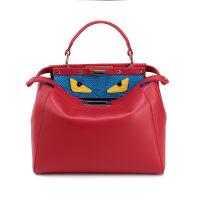 七夕礼物新款时尚真皮女包欧美同款小猫包 手提斜跨单肩包怪兽包卡通包袋 大号大红色