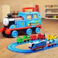 声光收纳车小火车轨道套装儿童电动益智男女孩玩具合金汽车3-6岁