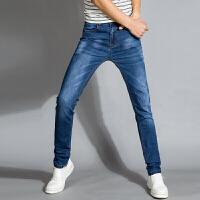 冬季弹性男士修身小脚裤超高弹力牛仔裤男休闲青春流行大码长裤子 浅蓝