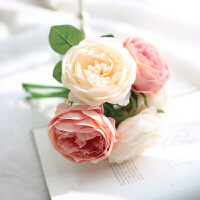 欧式仿真玫瑰花束客厅卧室办公桌家居装饰摆件假花绢花插花 香槟粉一束5头