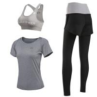 孕妇运动短裤女紧身裤运动服假两件大码瑜伽服套装健身跑步健身房 乳白色 浅灰3件套