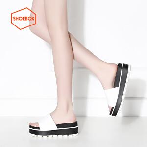 达芙妮旗下SHOEBOX/鞋柜松糕凉鞋高跟套脚圆头休闲女鞋一字拖