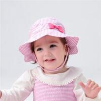 初生儿夏季太阳帽粉色蝴蝶结公主女宝宝遮阳帽凉帽