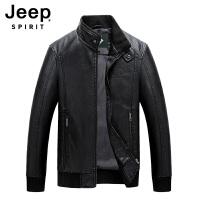 Jeep吉普男士秋冬立领皮衣机车款青年工装开衫时尚休闲皮夹克加绒保暖防风上衣