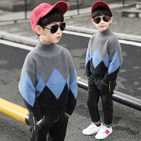 男童毛衣套头秋冬装儿童拼接高领打底衫