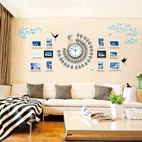 孔雀照片墙相框墙客厅地中海欧式组合挂墙现代简约相片墙 蓝色挂钟 12框