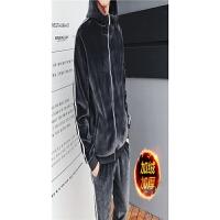 金丝绒休闲运动套装男秋冬季卫衣两件套青少年加绒加厚学生外套男 二条杠深
