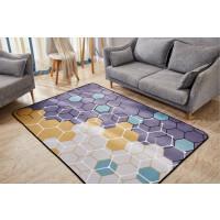 北欧地毯客厅沙发茶几地毯卧室床边地毯书房长方形地垫家用可水洗SN9903 浅紫色 彩色几何