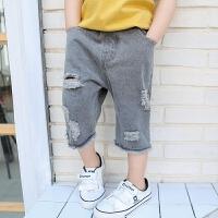 童装男童牛仔中裤 休闲裤子中裤五分裤