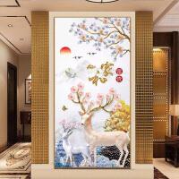 麋鹿十字绣 麋鹿钻石画发财树满钻点贴钻十字绣客厅家和富贵砖石绣画