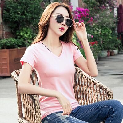 短袖T恤女夏季新款韩版V领刺绣修身半袖体恤女打底衫潮上衣