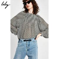 Lily春夏新款宽松印花蝙蝠袖灰色长袖雪纺衫118249C8970