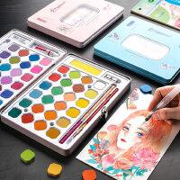 固体水彩颜料套装36色学生用儿童少儿水粉饼美术专业手绘画笔套装48色颜料盒便携式铁盒初学者入门画画分装