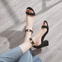 户外时尚女鞋chic凉鞋潮少女小清新高跟鞋韩版粗跟仙女的鞋子