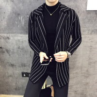 条纹开衫男青年中长款毛衣休闲针织外套