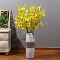 客厅卧室落地假花仿真花卉装饰大跳舞兰插花花束花艺陶瓷瓶摆件