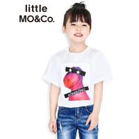 【折后价:89.7】littlemoco春季新品儿童T恤短袖胶印小恐龙图案纯棉圆领T恤