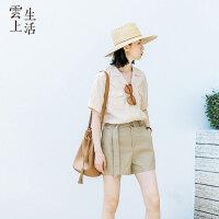 【限时抢购】云上生活女装夏装气质短袖工装风衬衫休闲衬衣女上衣C8266