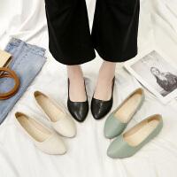 尖头平底鞋浅口百搭显瘦单鞋时尚百搭休闲平跟软底舒适工作鞋子