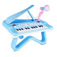 儿童早教玩具 多功能电子琴带麦克风音乐玩具宝宝儿童益智早教礼盒装生日礼物 天蓝色 多功能电子琴
