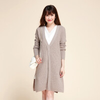 纯色羊绒针织衫大衣时尚15秋冬新款女韩版长款淑女保暖外套加厚