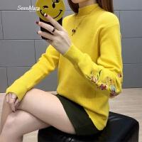 女士毛衣春装2018新款女短款半高领长袖针织打底衫宽松时尚百搭潮 黄色 S