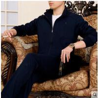 开衫长袖气质大方跑步套装中老年运动套装男装运动服特大号加肥加大码