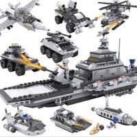 儿童益智塑料拼插玩具男孩益智早教拼装积木军事航母模型