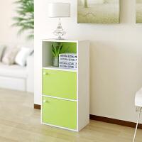 【当当自营】阿栗坞 三层二门收纳柜 储物柜 柜子 书柜书架 置物柜 绿色+白色 1009-1
