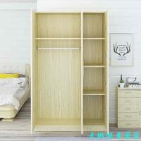 衣柜简约现代经济型组装简易衣柜实木板式2门3门4门卧室大衣柜子 白枫色40深120宽180高