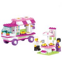 拼装积木塑料拼插 女孩儿童玩具 DIY快餐车
