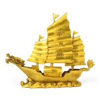 一帆风顺帆船摆件铜龙头船工艺品摆件家居客厅装饰品