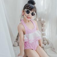儿童泳衣女孩连体纱纱裙条纹女童宝宝婴儿温泉度假游泳衣泳装