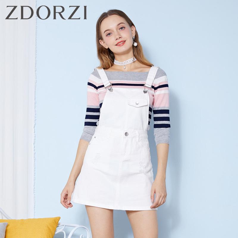 zdorzi卓多姿百搭背带纯白色半身短裙女634459