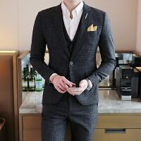 秋季男士西服韩版修身西装格子外套青年薄款单西潮男装休闲小西装