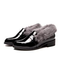 秋冬季新款女鞋真皮加绒兔毛休闲鞋平底低跟毛毛皮鞋百搭棉鞋