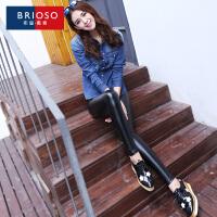 BRIOSO2017春装新款PU皮裤 显瘦修身外穿高腰弹力小脚裤 铅笔裤 WH17995