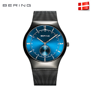 bering 白令防水石英表钢带手表男表时尚蓝宝石镜面男士手表11940