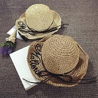 儿童草帽女夏天沙滩帽亲子遮阳帽母女宝宝太阳帽度假可折叠大檐帽