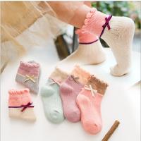 儿童袜子冬季纯棉日系吸汗女童袜宝宝蝴蝶结韩版甜美中筒袜