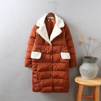 V1棉衣女中长款新韩版棉袄羊羔毛翻领冬季学生面包服0.95
