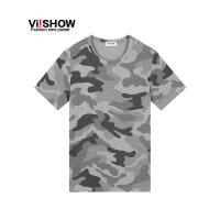 viishow夏装新款短袖T恤 欧美潮流纯棉短袖男 灰色迷彩印花t