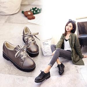 韩版冬季加绒简约女鞋深口方跟圆头百搭复古鞋子学院风女单鞋