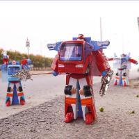变形公交车大巴合金车模型 美致正品 滑行玩具车小汽车儿童玩具