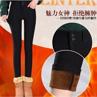 新款冬季修身显瘦加绒加厚女士外穿打底裤超柔绒弹力保暖长裤 黑色竖双扣 1-808#