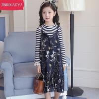 儿童春季套装2018新款韩版女孩时髦公主裙两件套长袖衫