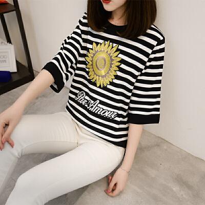 夏女上衣冰麻针织T恤女半袖超薄套头针织衫花卉绣花低圆领打底衫