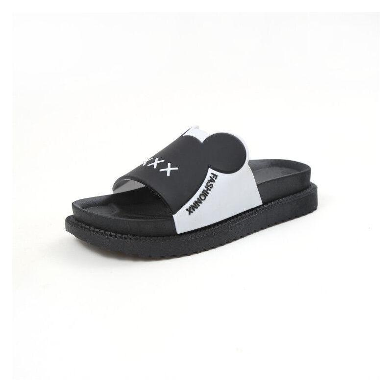 ELEISE美国艾蕾莎新品156-017韩版超纤皮平跟女士凉拖鞋